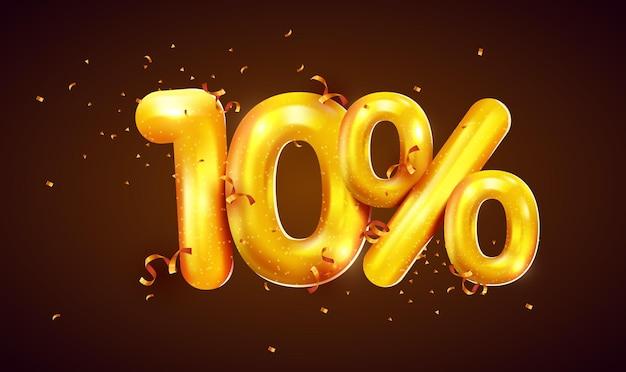 Pourcentage de réduction sur la composition créative de la méga vente de ballons dorés ou le symbole bonus de dix pour cent avec la bannière de vente de confettis