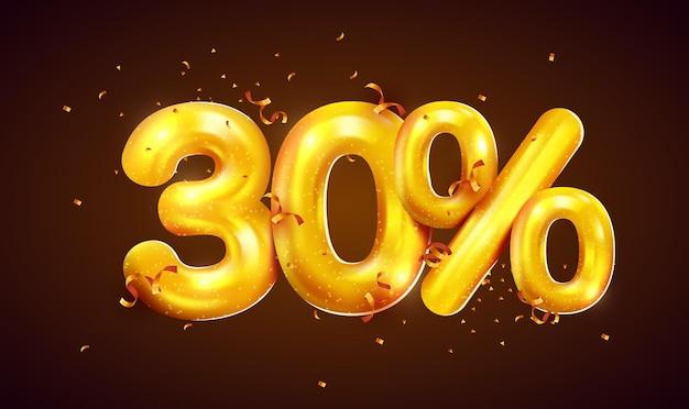 Pourcentage de réduction sur la composition créative de la méga vente de ballons dorés ou le symbole bonus de trente pour cent avec la bannière de vente de confettis