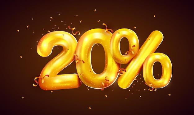Pourcentage de réduction sur la composition créative de la méga vente de ballons dorés ou symbole de bonus de vingt pour cent avec bannière de vente de confettis
