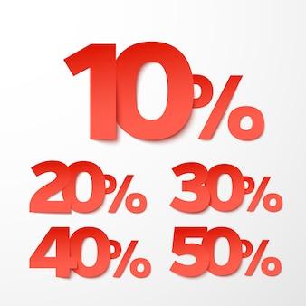 Pourcentages de vente en style papier