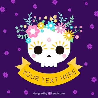 Pourpre mexicain fleurs crâne fond