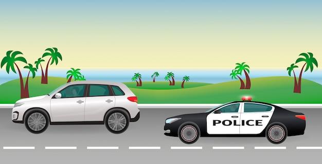 Poursuite de la police sur une route. travail de police. une voiture de police avec des feux clignotants poursuit le contrevenant.