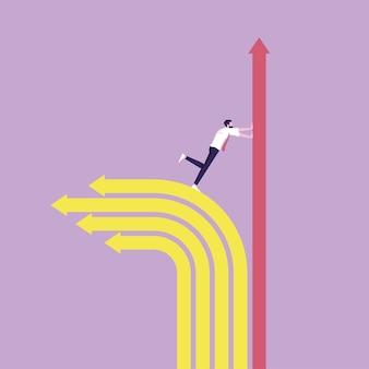 Pousser le graphique vers le haut augmente la métaphore des bénéfices et de la croissance des entreprises