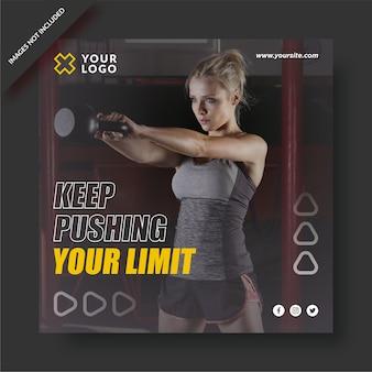 Pousser votre modèle instagram de centre de fitness limite