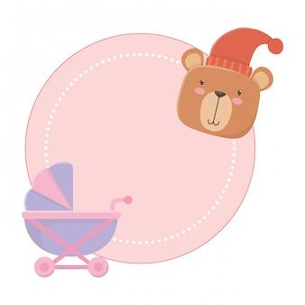 Poussette et ours en peluche