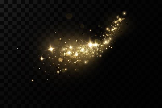La poussière étincelle avec les étoiles dorées brillent