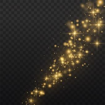 Poussière jaune. une belle lumière clignote. les particules de poussière volent dans l'espace. effet bokeh.