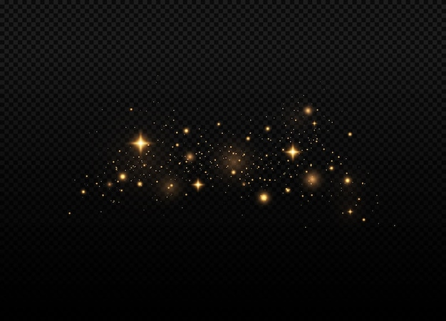 Poussière jaune une belle lumière clignote des particules de poussière volent dans l'espace
