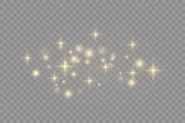 Poussière jaune effet bokeh belle lumière clignote des particules de poussière volent dans l'espace rayons lumineux horizontaux rayures lumineuses de poussière sur fond sombre