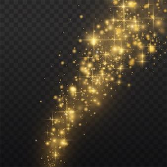 Poussière jaune. effet bokeh. une belle lumière clignote. les particules de poussière volent dans l'espace.