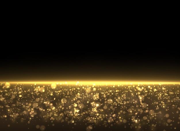 Poussière jaune. les particules de poussière volent dans l'espace. effet bokeh. rayons lumineux horizontaux. une belle lumière clignote.