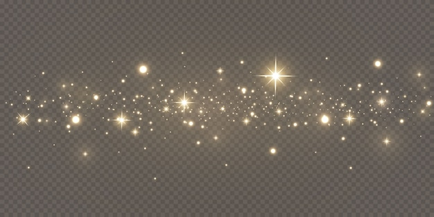 Poussière magique pétillante. sur un fond texturé noir et blanc. abstrait célébration faite de particules de poussière scintillantes dorées. effet magique. étoiles d'or. festif.