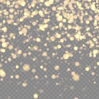Poussière scintillante cosmique sur fond transparent