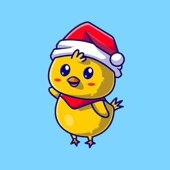 Poussin mignon avec bonnet et écharpe agitant la main cartoon vector icon illustration. concept d'icône de nature animale isolé vecteur premium. style de dessin animé plat