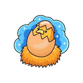 Poussin mignon sur dessin animé d'oeuf. vecteur animal