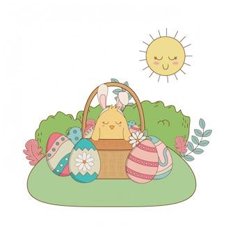 Poussin avec oreilles lapin dans panier et oeufs peint scène de jardin