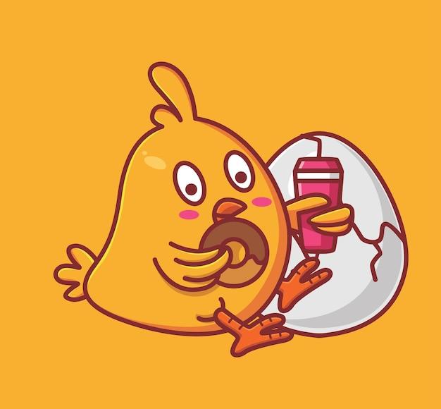 Poussins mignons mangeant des beignets et boivent de l'eau pendant que son frère fait éclore un dessin animé animal isolé