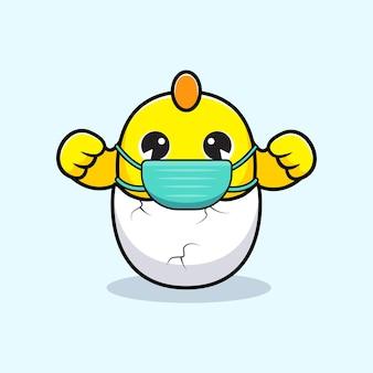 Poussins mignons portant un masque contre le virus de prévention