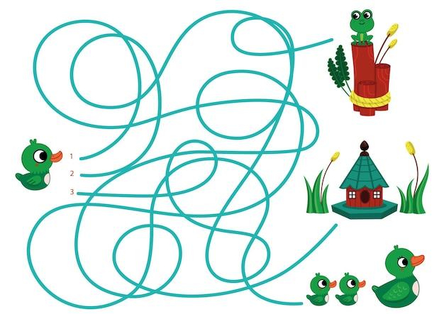 Pouvez-vous aider le bébé canard à trouver sa famille puzzle vectoriel pour les enfants
