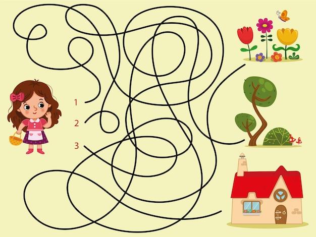 Pouvez-vous aider la fille à trouver sa maison vector kids puzzle