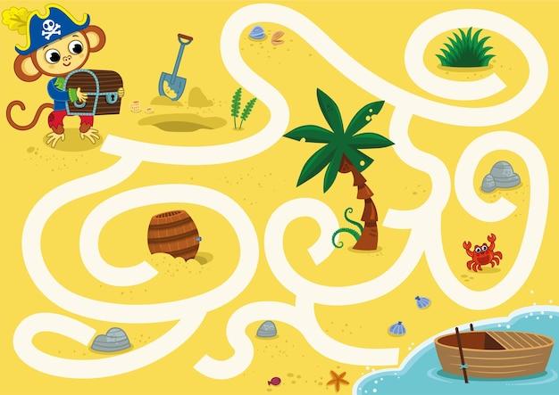 Pouvez-vous aider le singe pirate à enrichir le bateau jeu de labyrinthe vectoriel pour les enfants