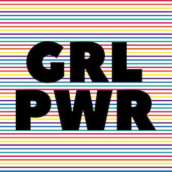 Le pouvoir créatif des filles écrit sous forme abrégée en lettres typographiques grl pwr