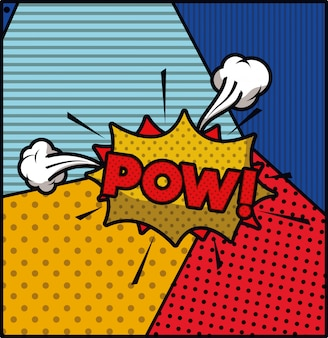 Pow mot pop art style expression vector