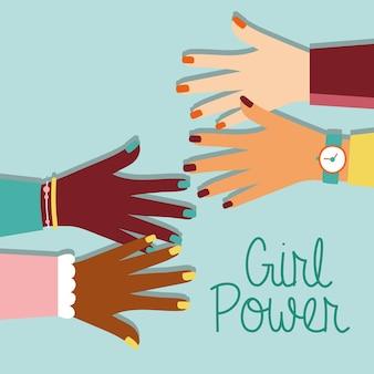 Power girl avec mains interraciales et lettrage design illustration vectorielle