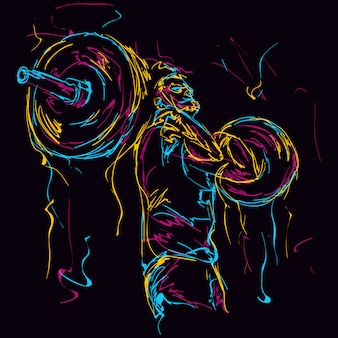 Powerlifting abstrait homme fort coloré
