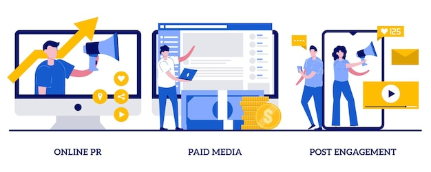 Pr en ligne, médias payants, concept d'engagement post avec des personnes minuscules. ensemble d'illustration abstraite de service de pr numérique. rédaction, communication d'entreprise, interaction avec les suiveurs, relations publiques.