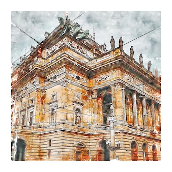 Prague république tchèque aquarelle croquis illustration dessinée à la main