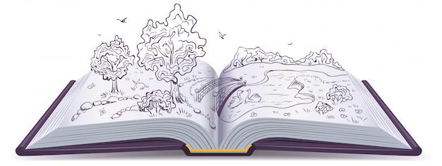 Prairie, rivière, pont et arbres dans les pages d'un livre ouvert. illustration conceptuelle