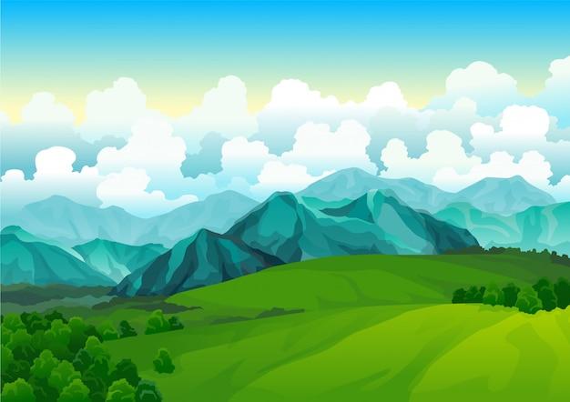 Prairies vertes de paysage avec des montagnes. vue sur la vallée d'été. champ de colline de paysage. herbe de nature sauvage et forêt en campagne. terre de vecteur d'été avec lever du soleil