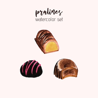 Pralines set aquarelle