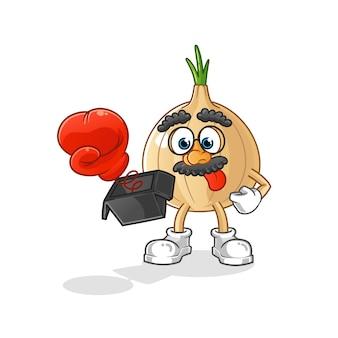 Prank d'oignon avec gant en personnage de dessin animé de boîte