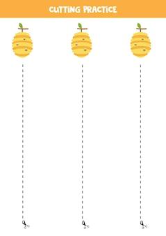 Pratique de coupe pour les enfants d'âge préscolaire. couper par une ligne pointillée. ruche de dessin animé.