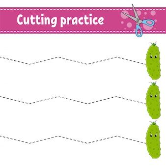 Pratique de coupe pour les enfants. feuille de travail de développement de l'éducation. page d'activité avec photos.