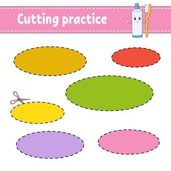 Pratique de coupe pour les enfants. feuille de travail de développement de l'éducation.