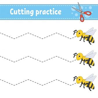 Pratique de coupe pour les enfants, feuille de travail pour le développement de l'éducation,