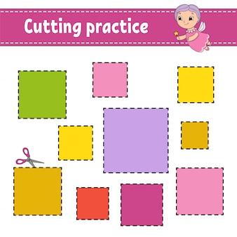 Pratique de coupe pour les enfants. feuille de travail pour le développement de l'éducation.