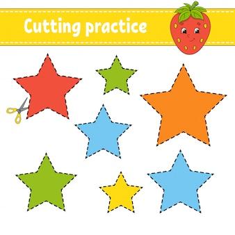 Pratique de coupe pour les enfants. fiche de développement de l'éducation.