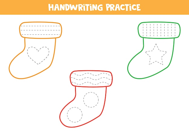 Pratique de l'écriture avec des chaussettes colorées.