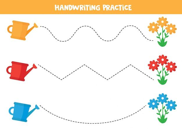 Pratique de l'écriture manuscrite avec arrosoir et fleurs.