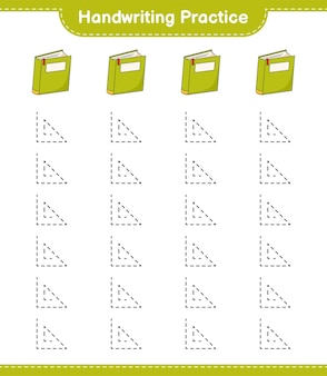 Pratique de l'écriture manuscrite. traçage des lignes du livre. jeu éducatif pour enfants, feuille de calcul imprimable, illustration vectorielle
