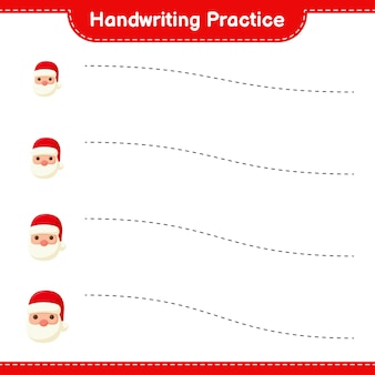 Pratique de l'écriture manuscrite. traçage des lignes du père noël. jeu éducatif pour enfants, feuille de travail imprimable