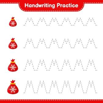 Pratique de l'écriture manuscrite. traçage des lignes du sac du père noël. jeu éducatif pour enfants, feuille de travail imprimable
