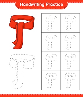 Pratique de l'écriture manuscrite traçage des lignes de l'écharpe feuille de travail imprimable du jeu éducatif pour enfants