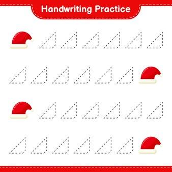 Pratique de l'écriture manuscrite. traçage des lignes de santa hat. jeu éducatif pour enfants, feuille de travail imprimable