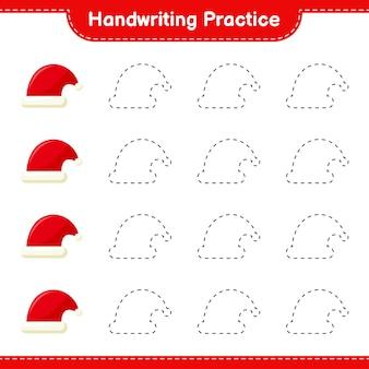Pratique de l'écriture manuscrite. traçage des lignes de santa hat. jeu éducatif pour enfants