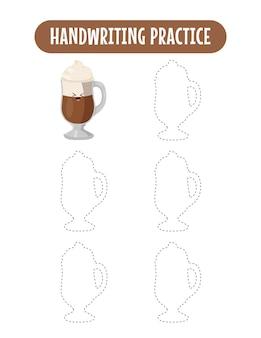 Pratique de l'écriture manuscrite en traçant des lignes de jeu de pratique d'écriture d'enfants éducatifs sur le café